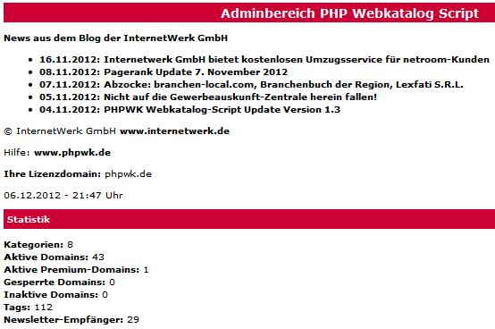 Webkatalog- und Branchenbuch-Script Adminbereich