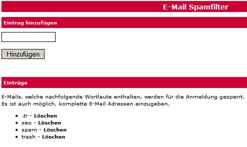 Webkatalog- und Branchenbuch-Script Spamfilter für E-Mail-Adressen