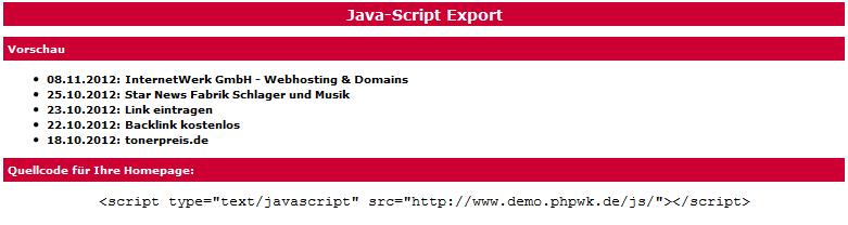 Webkatalog- und Branchenbuch-Script Java-Script Export
