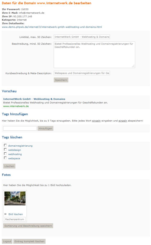 Webkatalog- und Branchenbuch-Script Userbereich