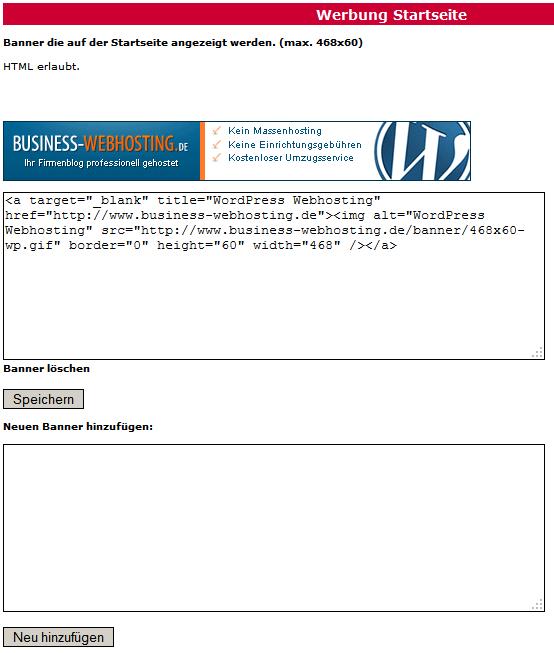 Webkatalog- und Branchenbuch-Script Bannerverwaltung